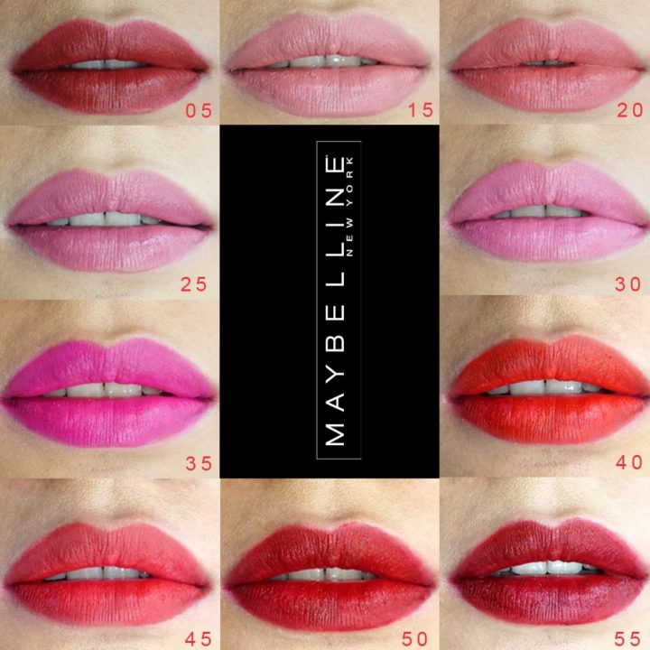 10 shade maybelline ink crayon, nude to dark, lipstick matte bagus