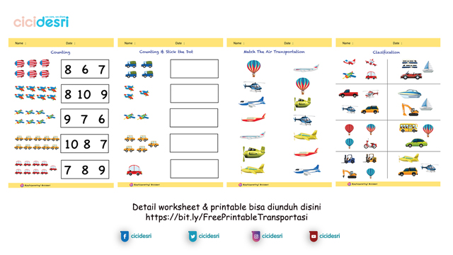 free printable transportasi, worksheet transportasi
